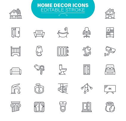 Home Decor Icons Editable Stroke
