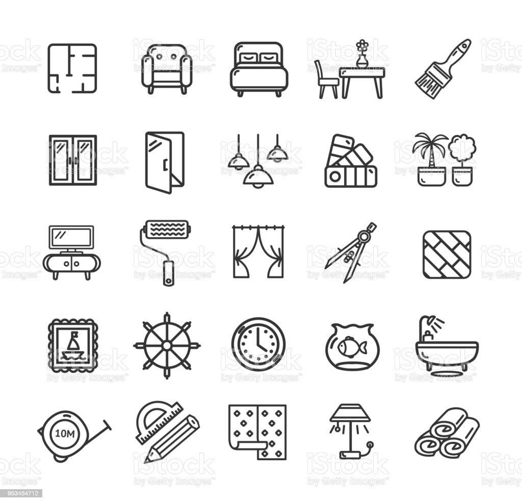 Home Decor Signs Black Thin Line Icon Set Vector Stock Illustration Download Image Now Istock