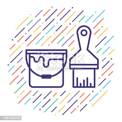 Line vector icon illustration of home painting and decorating with abstract lines background.