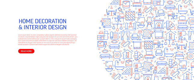Home Decoration and Interior Design Related Banner Design with Pattern. Modern Line Style Icons Vector Illustration