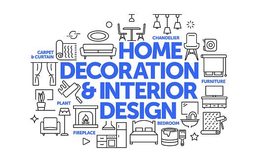 Home Decoration and Interior Design Related Web Banner Line Style. Modern Linear Design Vector Illustration for Web Banner, Website Header etc.