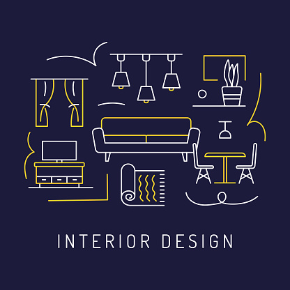 Home Decoration Concept, Modern Line Art Icons Background. Linear Style Vector Illustration.
