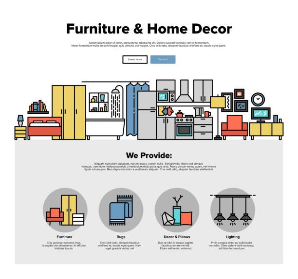 illustrations, cliparts, dessins animés et icônes de graphiques de web ligne plate décoration à la maison - nouveau foyer