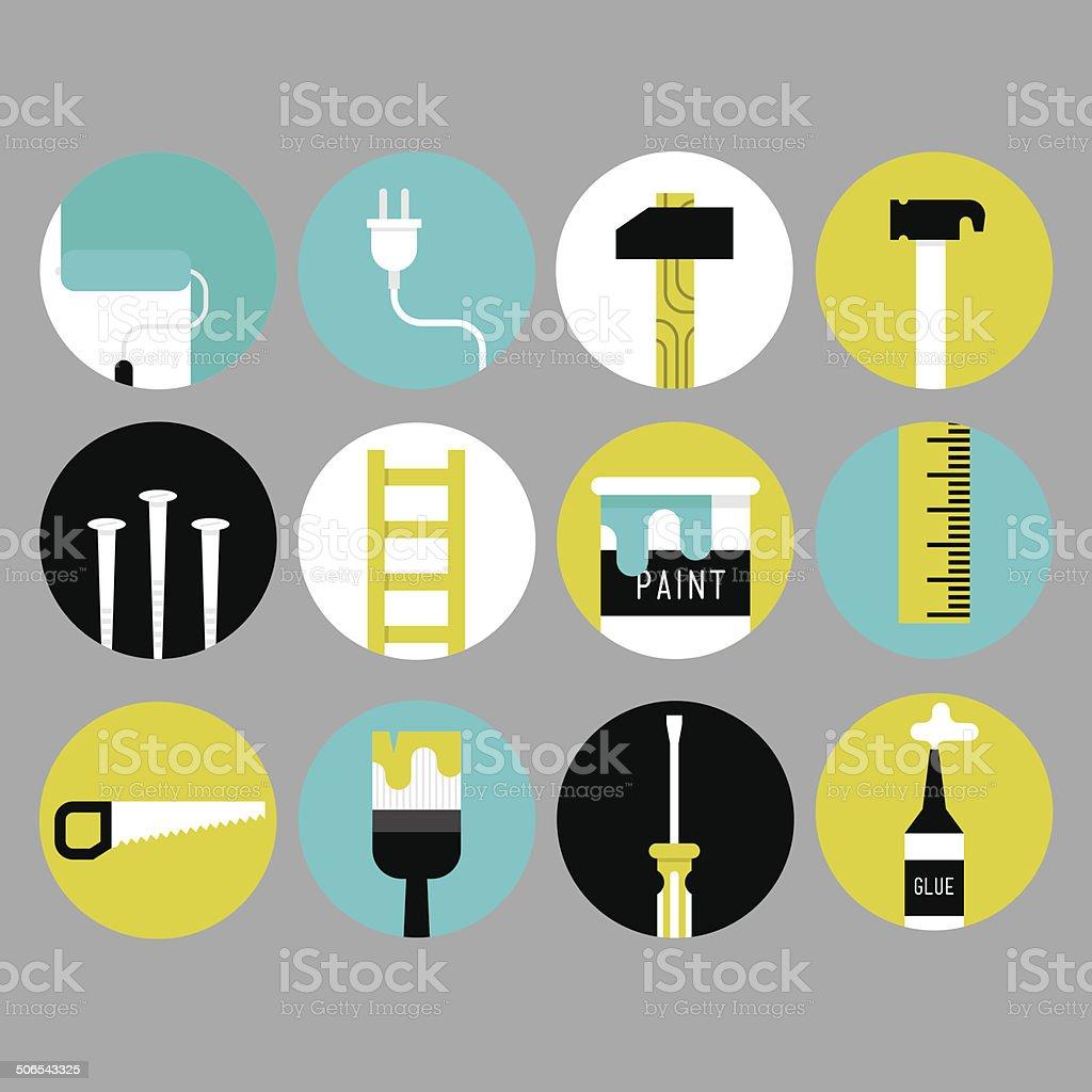 Home decoration icons vector art illustration