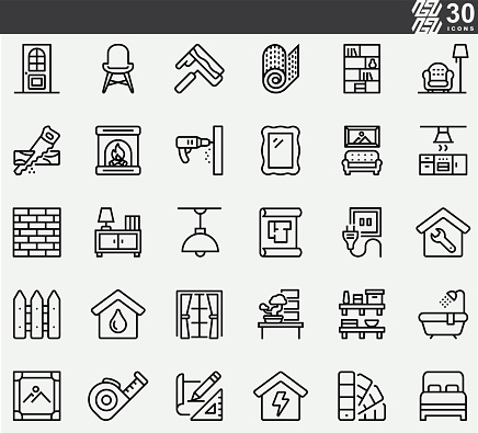 Home Decoration Line Icons