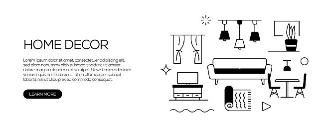 Home Decoration Related Web Banner Line Style. Modern Linear Design Vector Illustration for Web Banner, Website Header etc.