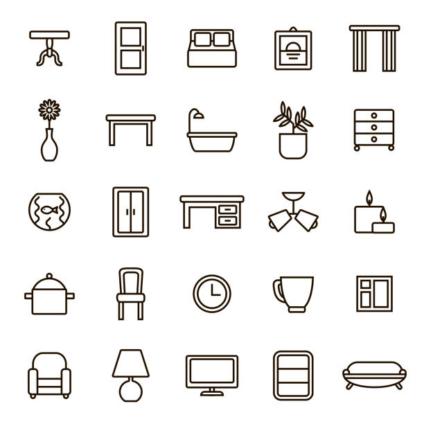 Home Decoration Signs Black Thin Line Icon Set. Vector Home Decoration Signs Black Thin Line Icon Set Include of Table, Chair and Bulb. Vector illustration of Elements Living Room bathroom borders stock illustrations