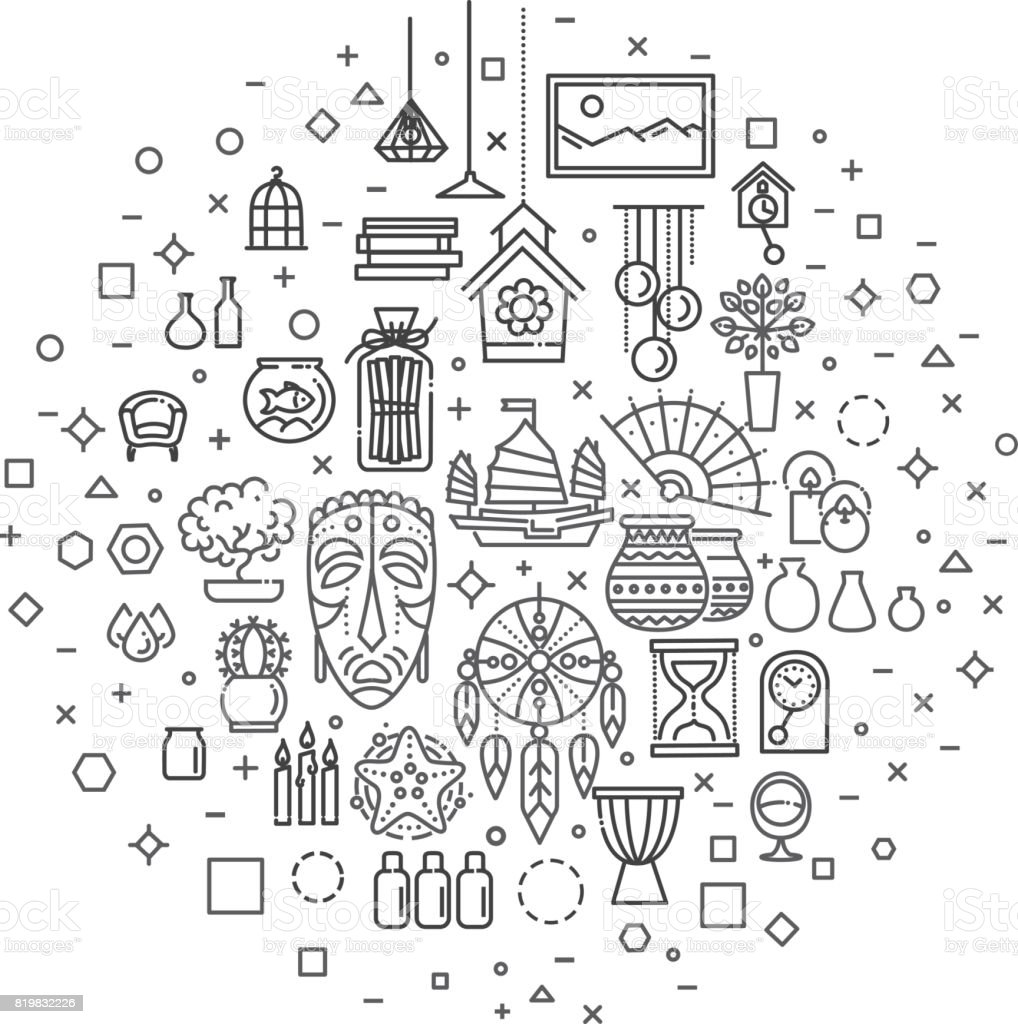Home Decoration Vector Thin Line Icons Stock Vector Art More