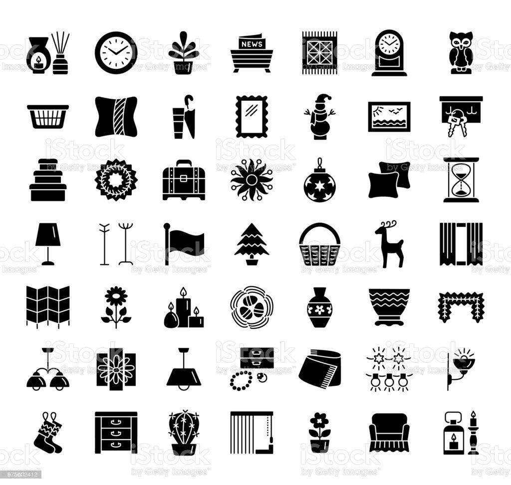 Home Decorative Items Accents Interior Design Icon Collection Stock