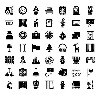 Home decorative items & accents. Interior design. Icon collection.