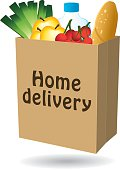 Home delivery shopping bag icon I