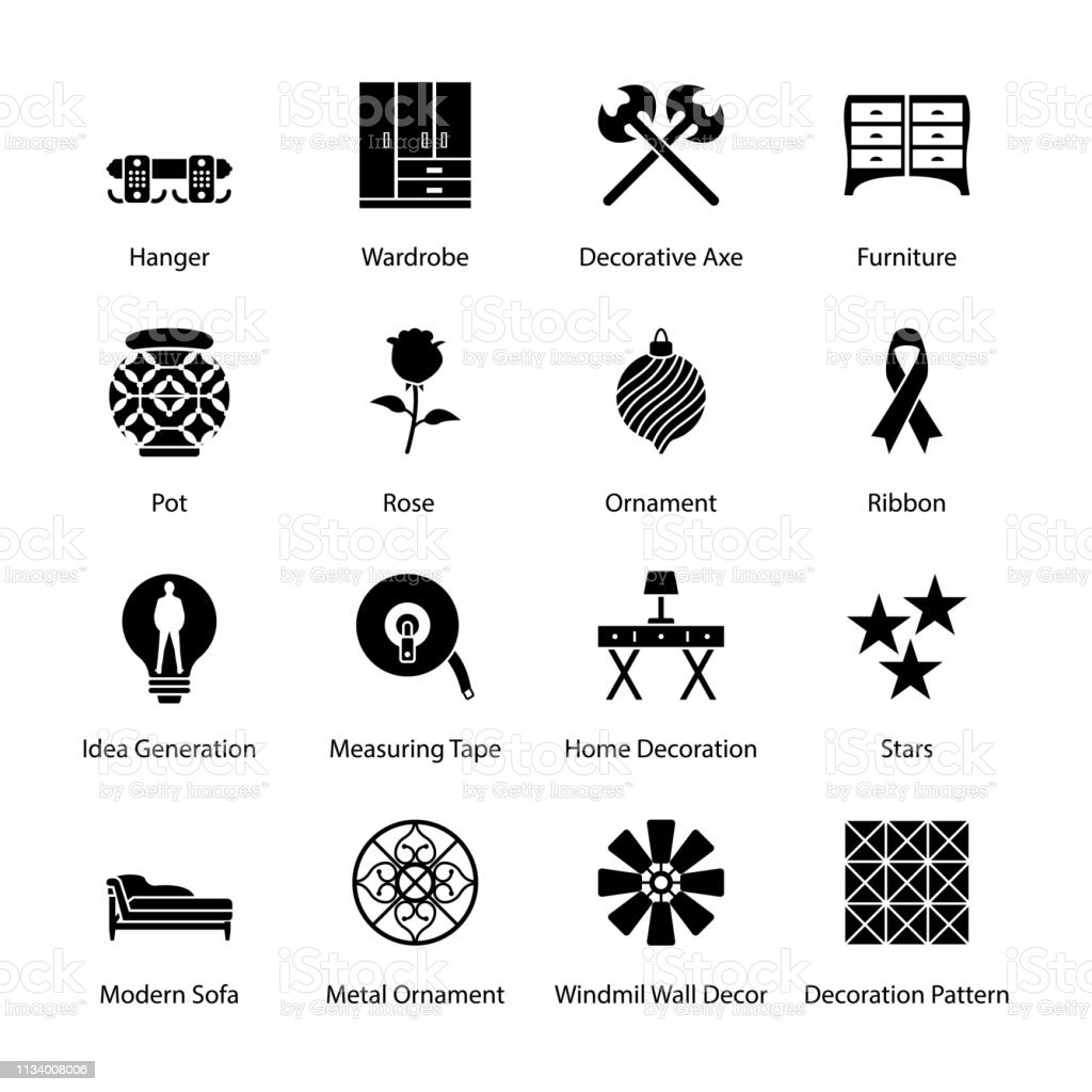 Home Design And Decor Icons Pack Stock Illustration