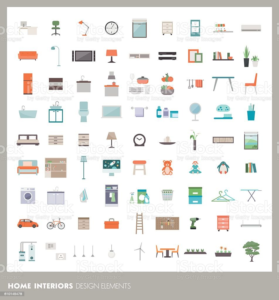 Home design elements vector art illustration
