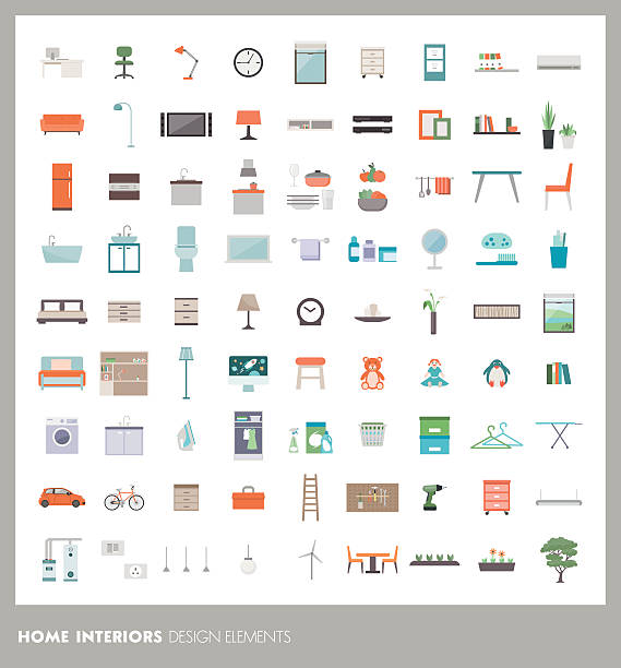Home design elements Home room interiors design elements and icons set: furnishings, objects and appliances bedroom symbols stock illustrations