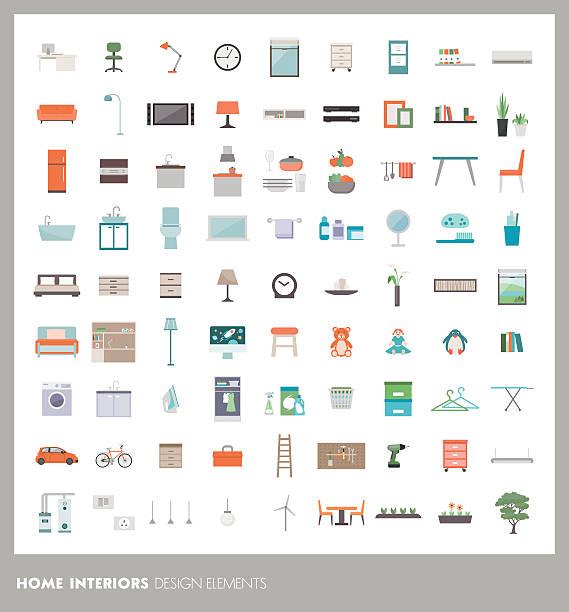 bildbanksillustrationer, clip art samt tecknat material och ikoner med home design elements - möbel