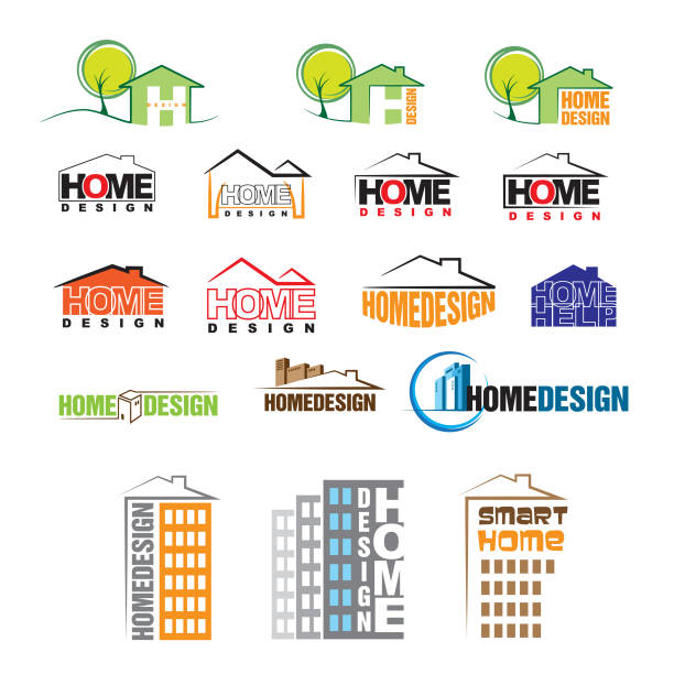 Home Design Logo Vector Art Illustration