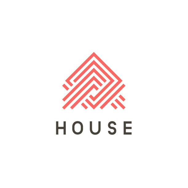 home design vector icon concept. abstract house sign. - real estate logos stock illustrations, clip art, cartoons, & icons