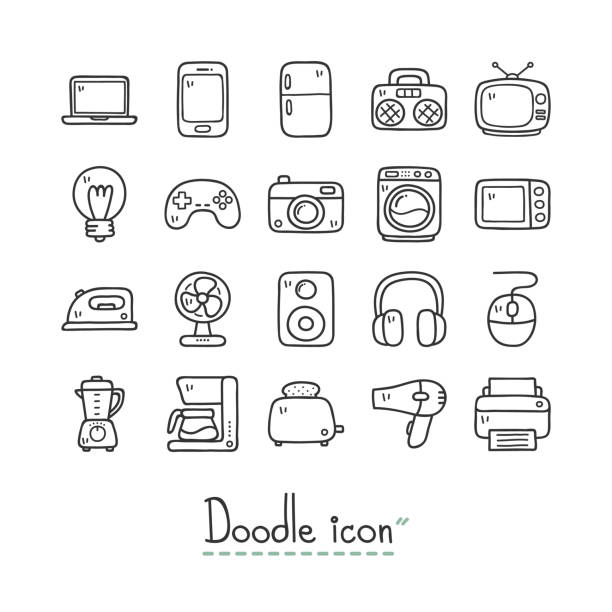 Home device icon set Home Devices. Cute doodle Icons. electro music stock illustrations