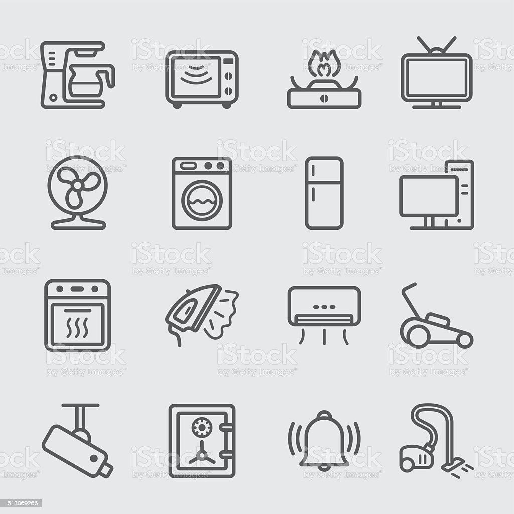 Startseite Geräte Linie-icon - Lizenzfrei Ausrüstung und Geräte Vektorgrafik