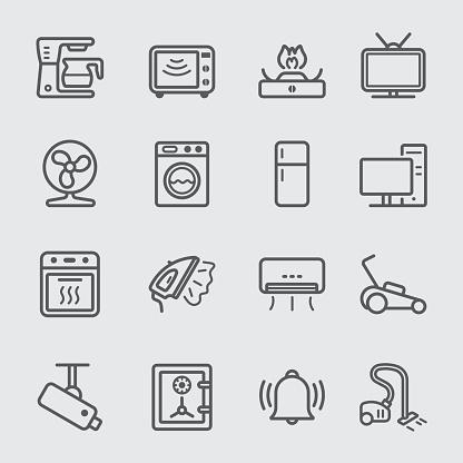 Startseite Geräte Linieicon Stock Vektor Art und mehr Bilder von Ausrüstung und Geräte