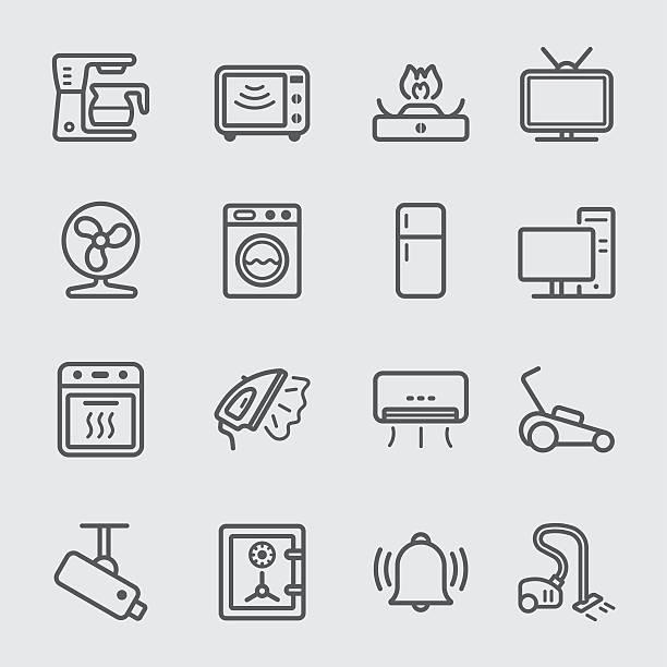 startseite geräte linie-icon - waschmaschine stock-grafiken, -clipart, -cartoons und -symbole