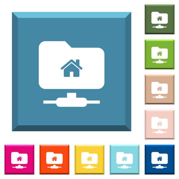 ftp-basisverzeichnis weiße symbole auf scharfkantigen quadratische tasten - computergrundlagen stock-grafiken, -clipart, -cartoons und -symbole