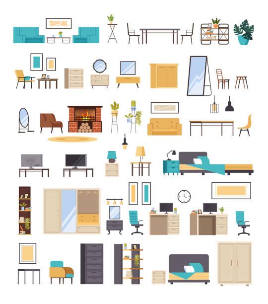 Home domestic room furniture isolated set. Vector flat graphic design cartoon illustration vector art illustration