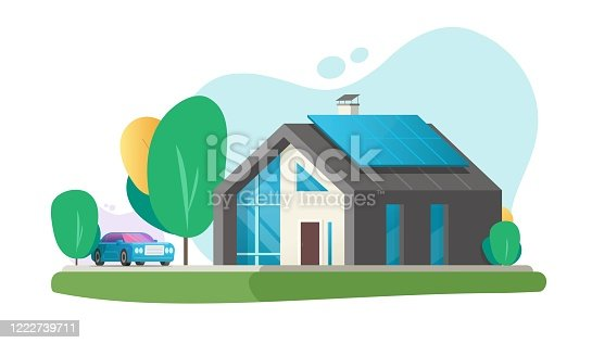 istock Home eco modern future or contemporary luxury house architecture building with smart solar panel energy technology vector flat cartoon, ecological green business property villa exterior design 1222739711