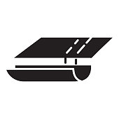 istock Home efficiency gutter or eavestrough icon - solid 100% black fill 1301820380