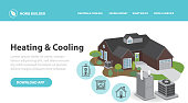 Vector illustration of a Home efficiency Heating and Cooling Infographic with 3d home air conditioner and furnace with icons in thin line style. Includes heating and cooling graphics for exterior home, furnace, air conditioner hot water tank, natural gas fireplace. Fully editable Vector eps 10.