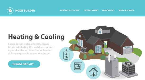 Home efficiency Heating and Cooling Infographic design template with 3d home air conditioner and furnace vector art illustration
