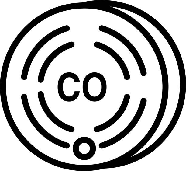 Home Efficiency modern Carbon Monoxide detector icon in thin line style vector art illustration