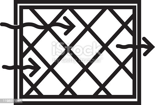 Vector illustration of a Home Efficiency modern high efficiency furnace filter icon in thin line style. Black and white set in EPS 10 format.