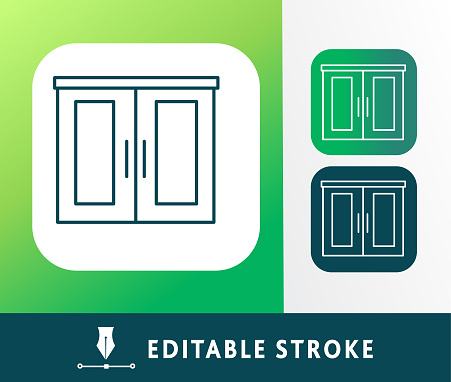 Home efficiency storage cabinet thin line Icon set - editable stroke