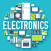 Home electronics appliances circle infographics template concept