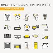 Home Electronics Appliances Thin Line Icons Set