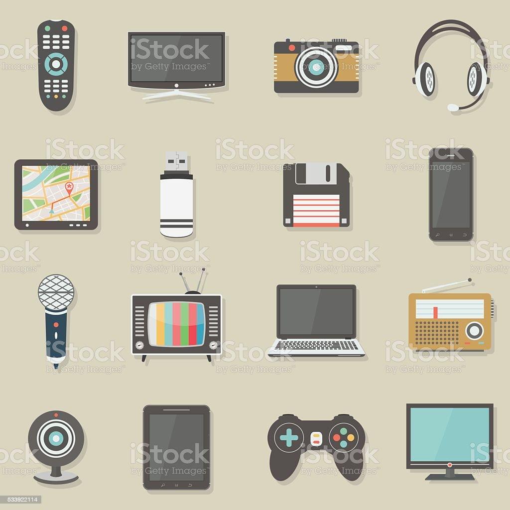 Home electronics icons set vector art illustration