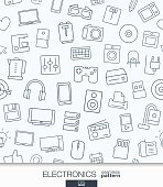 Home Electronics wallpaper. Black and white digital shop seamless pattern