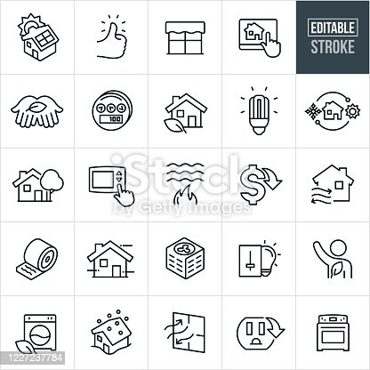 A set of home energy conservation icons that include editable strokes or outlines using the EPS vector file. The icons include a house with solar panels, thumbs up, window, home automation system, hand with leaf, power meter, house with leaf, cfl light bulb, LED lightbulb, heating and cooling, house with tree, thermostat, flame heating water, cost down, insulation, air conditioner, light switch, washing machine, house in snowstorm, energy efficient appliances, energy efficient window, outlet, oven