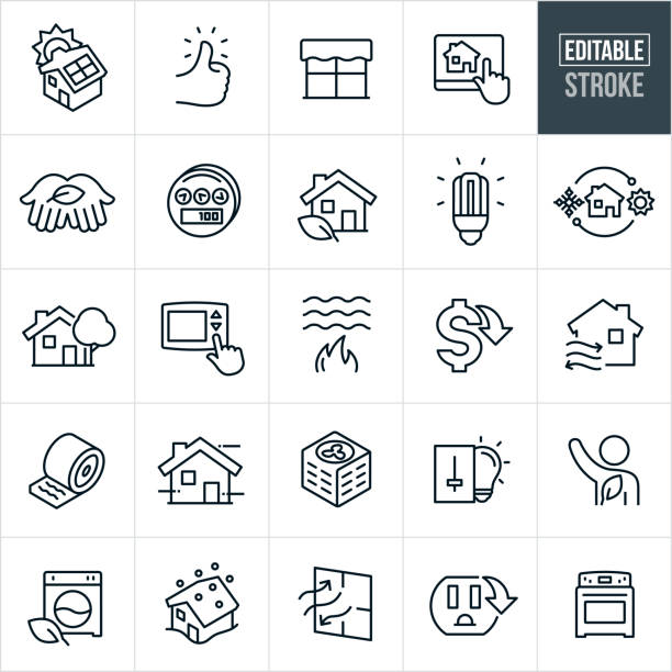Home Energy Conservation Thin Line Icons - Editable Stroke A set of home energy conservation icons that include editable strokes or outlines using the EPS vector file. The icons include a house with solar panels, thumbs up, window, home automation system, hand with leaf, power meter, house with leaf, cfl light bulb, LED lightbulb, heating and cooling, house with tree, thermostat, flame heating water, cost down, insulation, air conditioner, light switch, washing machine, house in snowstorm, energy efficient appliances, energy efficient window, outlet, oven conceptual symbol stock illustrations