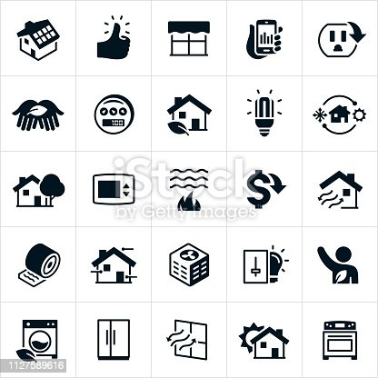 A set of home energy conservation icons. The icons include solar panels on a home, thumbs up, energy efficient windows, power meter, green home, CFL, heating and cooling, HVAC, shade tree, thermostat, water heating, cost savings, ventilation, insulation, air conditioner, light dimmer, energy efficient washing machine, refrigerator and stove to name just a few.