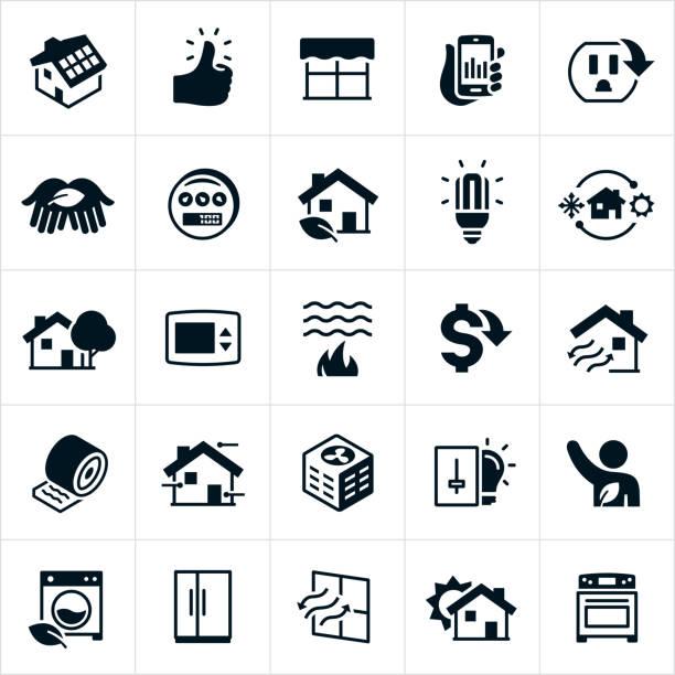 domowe ikony efektywności energetycznej i ochrony - home icon stock illustrations