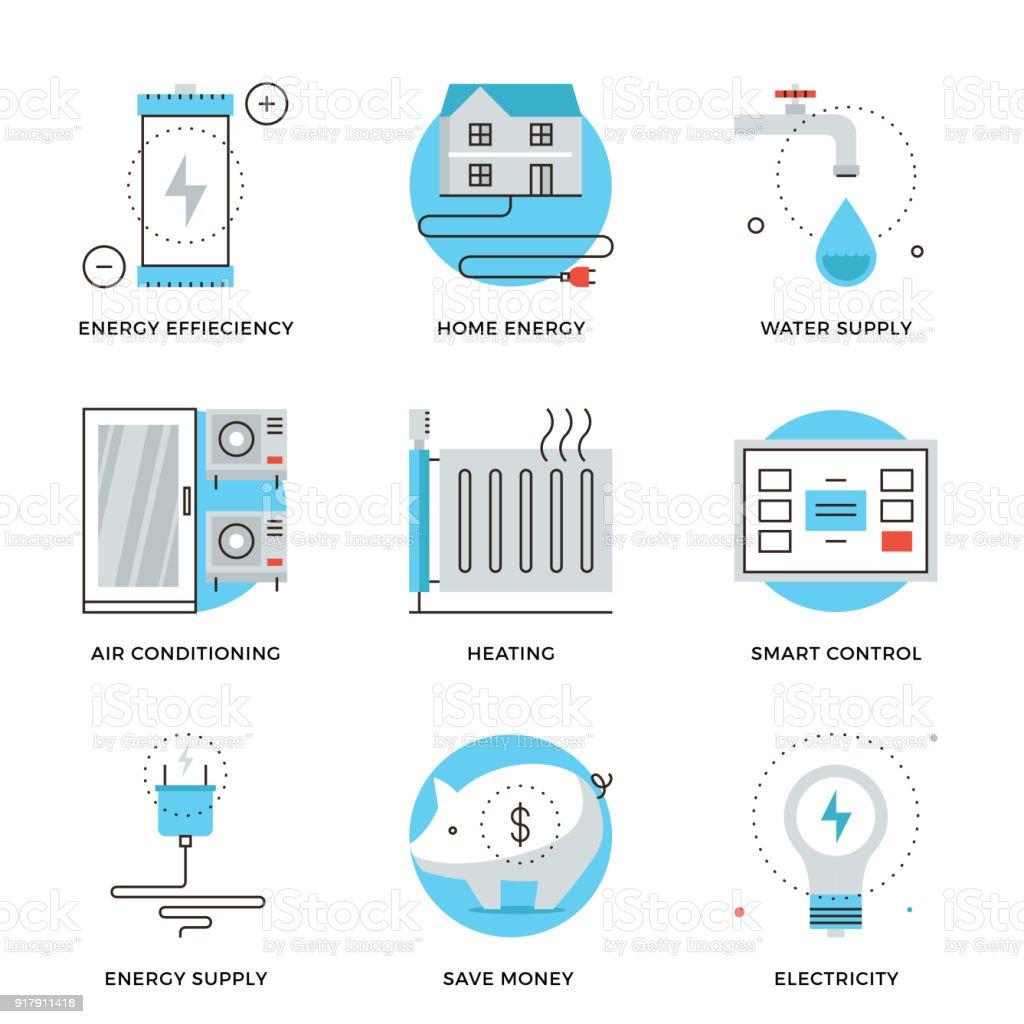 Home energy efficiency line icons set