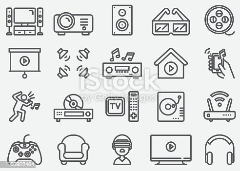 Home Entertainment Electronics Line Icons