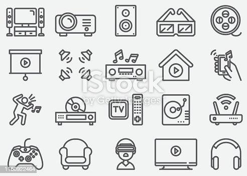 Home Entertainment Electronics Line Icons