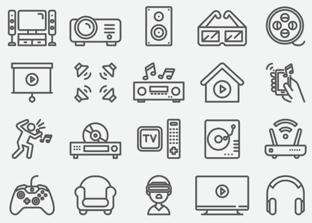 bildbanksillustrationer, clip art samt tecknat material och ikoner med hem underhållning electronics line ikoner - konstkultur och underhållning
