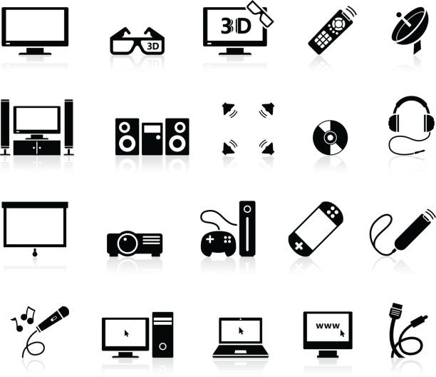 Home Entertainment icons Set of technology icons. stereo stock illustrations