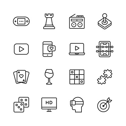 Home Entertainment Line Icons. Editable Stroke. Pixel Perfect. For Mobile and Web. Contains such icons as
