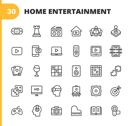 Home Entertainment Line Icons. Editable Stroke. Pixel Perfect. For Mobile and Web. Contains such icons as Gaming Console, Chess, Radio, Online Video, Streaming, Dating, Table Football, Card, Wine, Party, Puzzle, Dice, Television, Movie, Virtual Reality.