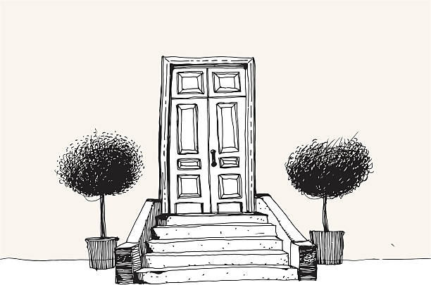 Home Entrance with trees Illustration of elegant entrance with two trees on both side of staircase. porch stock illustrations
